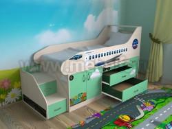 Кровать-чердак самолет 80х190 с ящиками (ДМЗ).