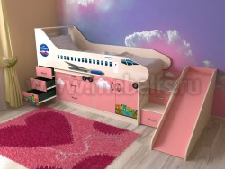 Кровать-чердак самолет 80х190 с ящиками и горкой (ДМР).
