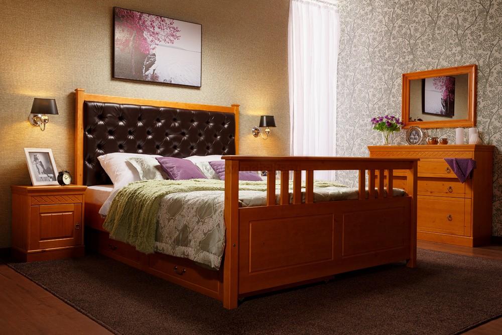 двуспальная кровать с мягким изголовьем дания 2 160х200см и двумя