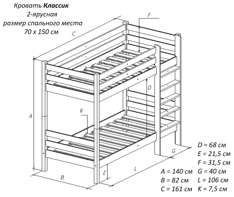 Простая двухъярусная кровать своими руками чертеж 112