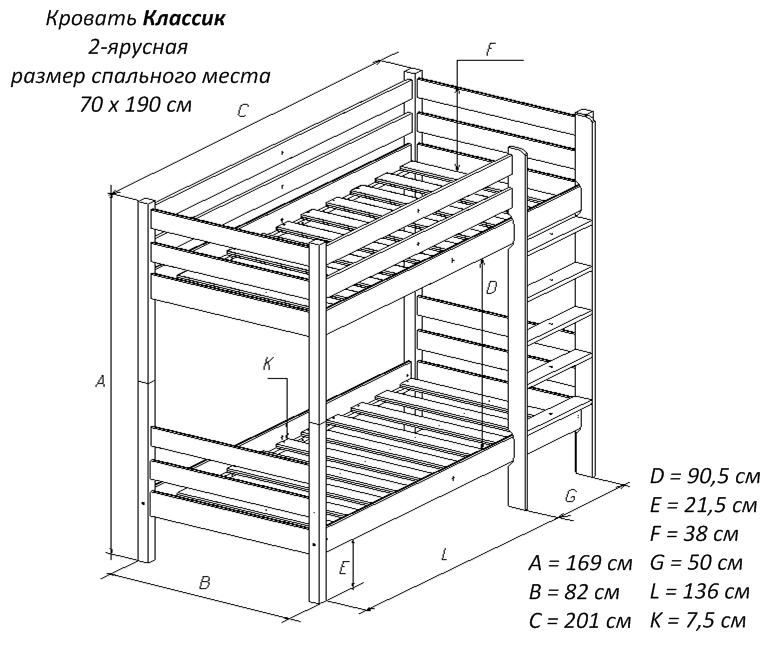 Схема двухъярусная кровать детская