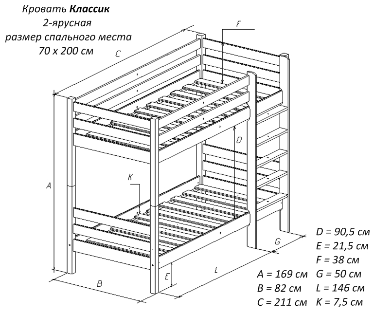 Двухуровневая кровать своими руками чертежи 36