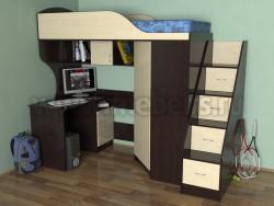 Кровать чердак Квартет-2 с рабочей зоной и лестницей-ящиками (В/ДМ).