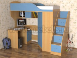 Кровать чердак Квартет-2 с рабочей зоной и лестницей-ящиками (БС).