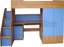 Кровать чердак с рабочей зоной и ступенями слева, Умка-201 (ВС).