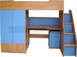 Кровать чердак с рабочей зоной и ступенями справа, Умка-201 (ВС).