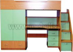 Кровать чердак с рабочей зоной и ступенями справа, Умка-201 (БС).