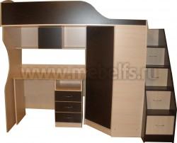 Кровать чердак Квартет-2 с рабочей зоной и лестницей-ящиками (ДМВ).
