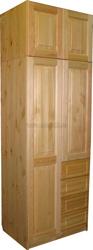 Шкаф из сосны Оскар-2 (2х дверный с ящиками и антресолью 60см).