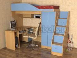 Кровать чердак с рабочей зоной и ступенями Квартет (БС).