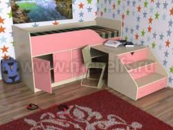 Кровать чердак с рабочей зоной Кузя-2 (ДМР).