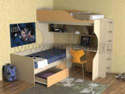 Двухъярусная кровать с диваном Дуэт-5 (ДМО).
