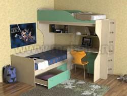 Двухъярусная кровать с диваном Дуэт-5 (ДМЗ).