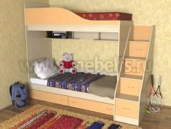 Кровать двухъярусная с лестницей-ящиками Дуэт (ДМО).