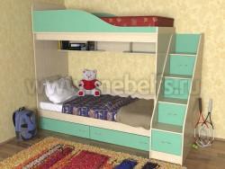 Кровать двухъярусная с лестницей-ящиками Дуэт (ДМЗ).