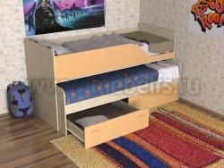 Детская двухъярусная выдвижная кровать с ящиками Дуэт-2 (ДМО).