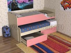 Детская двухъярусная выдвижная кровать с ящиками Дуэт-2 (ДМР).