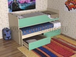 Детская двухъярусная выдвижная кровать с ящиками Дуэт-2 (ДМЗ).