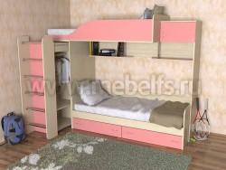 Двухъярусная кровать со шкафом Дуэт-3 (ДМР).