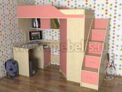 Кровать чердак Квартет-2 с рабочей зоной и лестницей-ящиками (ДМР).