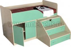 Детская кровать чердак с рабочей зоной Кузя (ДМЗ).