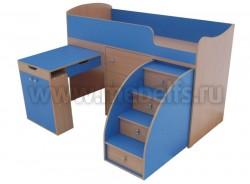 """Кровать чердак """"Малыш"""" с рабочей зоной (бук-синий)."""