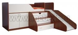 Кровать чердак с рабочей зоной и горкой Кузя (ЯВ).