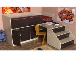 Кровать чердак с рабочей зоной Кузя-2 (ДМВ).