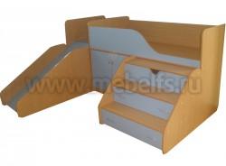 Кровать чердак с рабочей зоной и горкой Кузя (БС).
