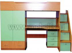 Кровать чердак с рабочей зоной и ступенями слева, Умка-201 (БС).