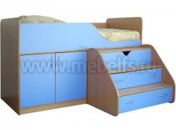 Детская кровать чердак с рабочей зоной Кузя (БС).