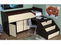 Кровать чердак с рабочей зоной Кузя-2 (ВДМ).