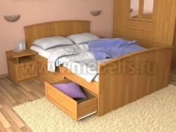 Кровать двуспальная с ящиками (140х200см).