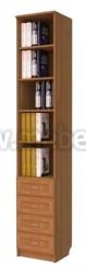 Книжный шкаф узкий с ящиками (арт.121)