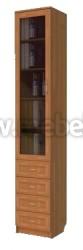 Узкий книжный шкаф с ящиками (арт.221)