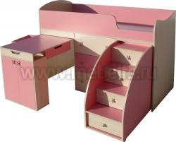 Кровать чердак Малыш с рабочей зоной (дуб-розовый).