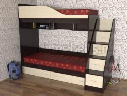 Кровать двухъярусная с лестницей-ящиками Дуэт (ВДМ).