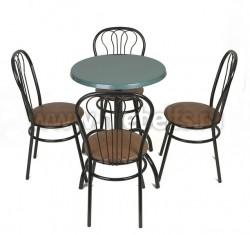 Стол обеденный круглый Дуолит-металлик (650)