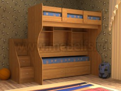 Двухъярусная кровать со столом Дуэт-4 (О).