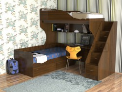Двухъярусная кровать с диваном Дуэт-5.2 (ОЭ).