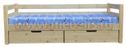 Односпальная кровать тахта Гусар с ящиками и матрасом.