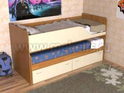 Детская двухъярусная выдвижная кровать с ящиками Дуэт-2 (ОВ).