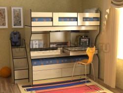 Двухъярусная кровать со столом Дуэт-4 (ДМВ).