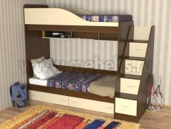 Кровать двухъярусная с лестницей-ящиками Дуэт (ОЭВ).