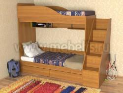 Кровать двухъярусная с лестницей-ящиками Дуэт (О).