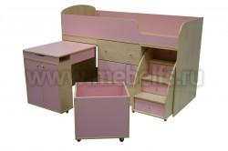 Кровать чердак Фунтик с рабочей зоной (клен танзао/ розовый).