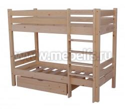 Двухъярусная кровать Классика (70х160см) с ящиком для белья.