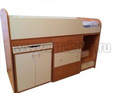 Кровать чердак с рабочей зоной Фунтик (вишня/ беж)