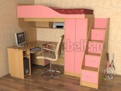 Кровать чердак Квартет с рабочей зоной и ступенями (БР).