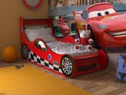 Детская кровать машинка 70х160 (красная).